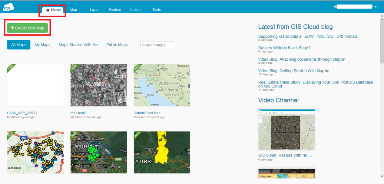 GIS Cloud Map Editor Home Tab
