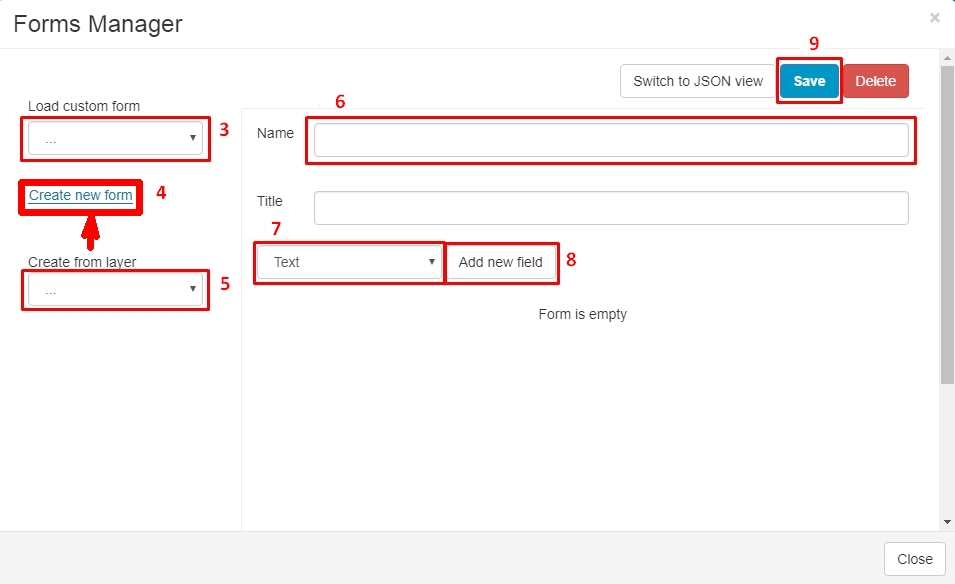 Map Editor Create Form