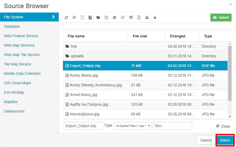 Map Editor File Manager Panel